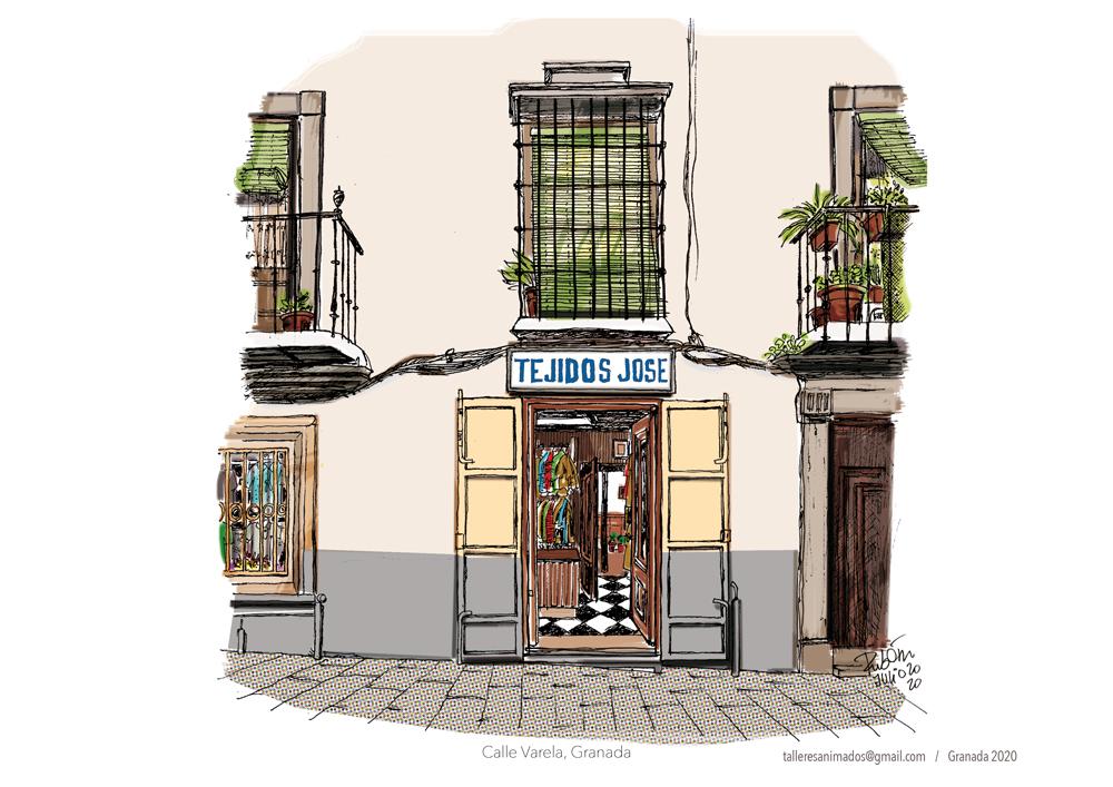 """Fachada de la tienda """"Tejidos José"""" en la Calle Varela, Realejo, Granada"""
