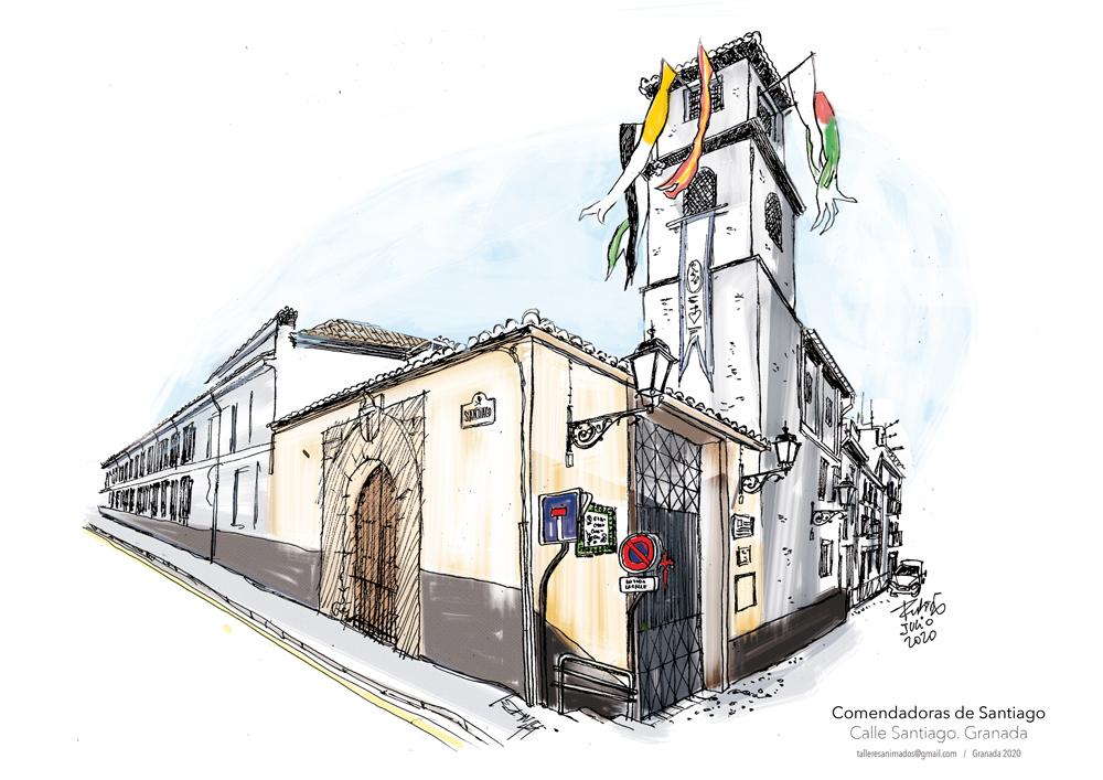 Dibujo del convento de las Comendadores de Santiago en Granada